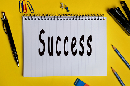 success word: Success word on notepad page