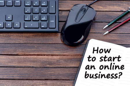 trading questions: Question How to start an online business on notebook Stock Photo