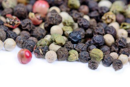 peppercorn: Mix peppercorns on white background closeup
