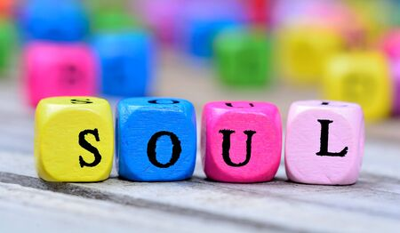 Soul word on wooden table Stock Photo