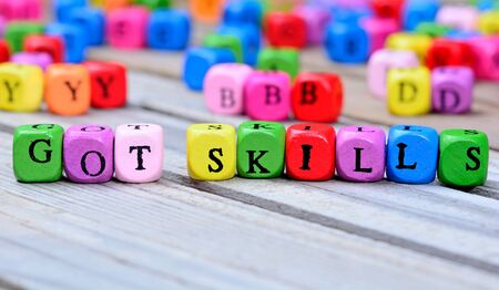 able to learn: Got skills words on wooden table Stock Photo
