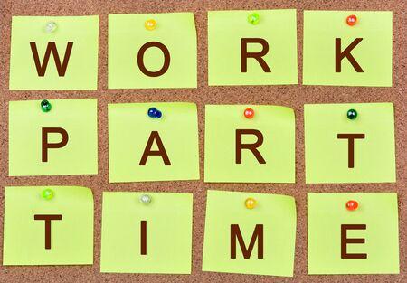 Die Wörter arbeiten Teilzeit auf Anmerkungnahaufnahme