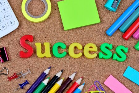 success word: Success word on cork background