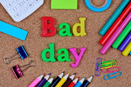Bad day words on cork background closeup Stock Photo