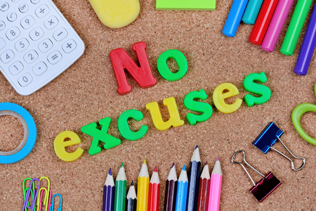 No excuses words on cork background closeup Imagens