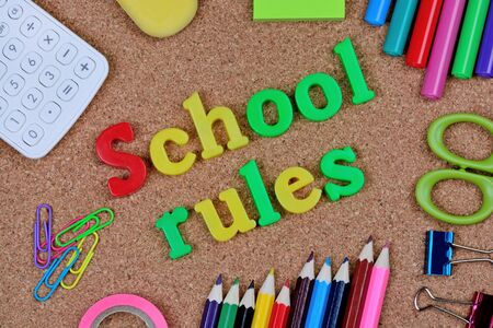 School rules words on cork background