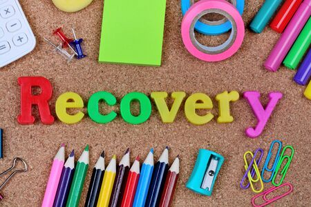 Recovery word on cork background