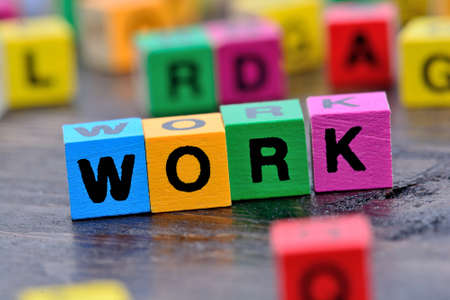 The word Work on wooden table Stock Photo