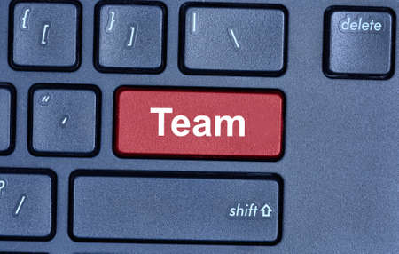 interdependent: Team word on computer keyboard button