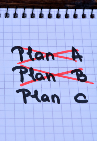Plan A Plan B and Plan C on notebook close-up Stock Photo