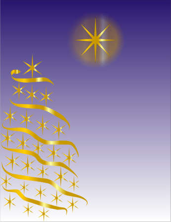 Golden star tree with a festive star shining above Vector