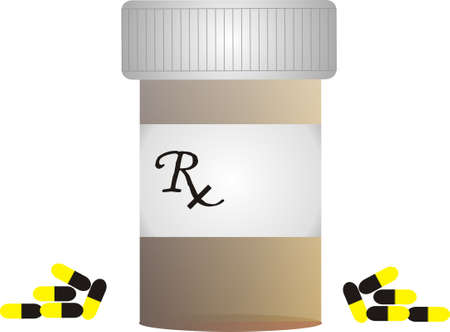 vitamins pills: Prescription bottle with medications beside it Illustration