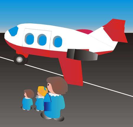 viaje de negocios: A la espera del primer avi�n viaje como pap� llega de estar en viaje de negocios Vectores