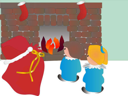 Girls in front of fireplace wondering where Santa took off to... Stock Vector - 3637784