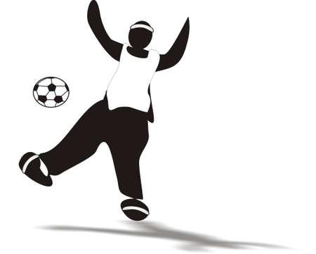 kicking ball: Silueta de jugador pateando la pelota en el aire Vectores