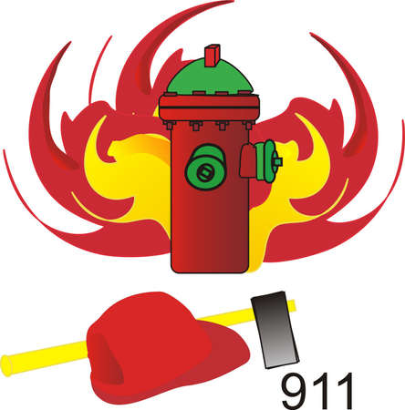 protecting: 911 illustration for fire, with axe, helmet and hydrant