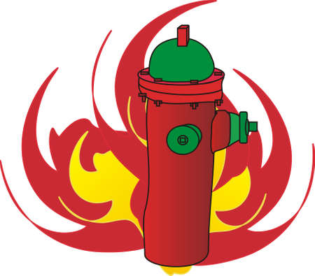 Symbol of fire hydrant and flames Vector