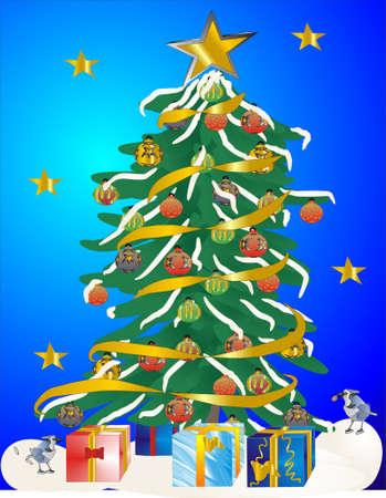 adorned: Festive tree adorned with presents and bluejays around it Illustration