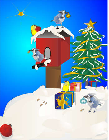 Blue Jays and goldfinches decorating their birdhouse for Xmas Vector