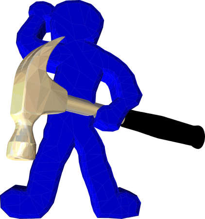 claw hammer: Hammerman holding a hammer and ready to work Illustration
