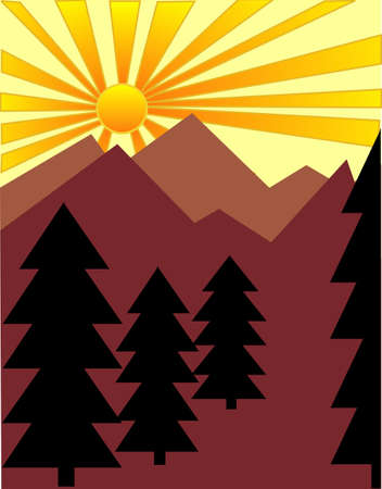 Pine trees and hills greating a eco system Vector