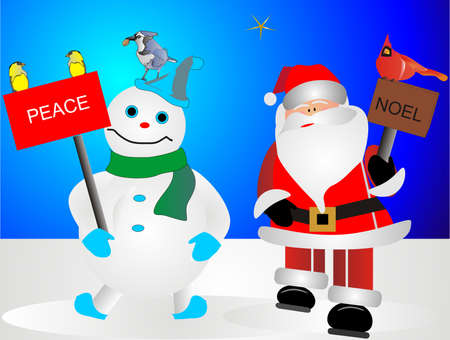 Frosty and Santa with their bird friends Vector