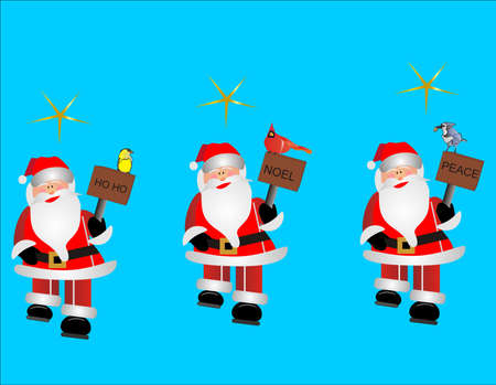 humbug: 3 Santas clip-art Illustration