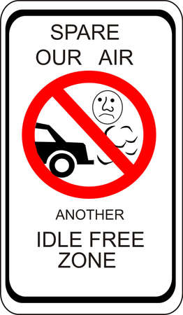 sign asking those not to idle vehicle while waiting Vector