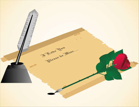 fashion story: Love letter written in calligraphy with quill rose pen.. Illustration