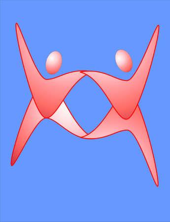 Twee mensen dansen elegant het maken van een Dance-logo