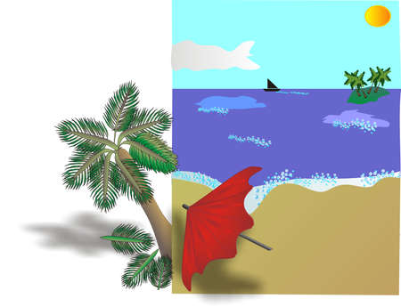 brolly: Tropical Beach billboard leaning against a palm tree.. Illustration