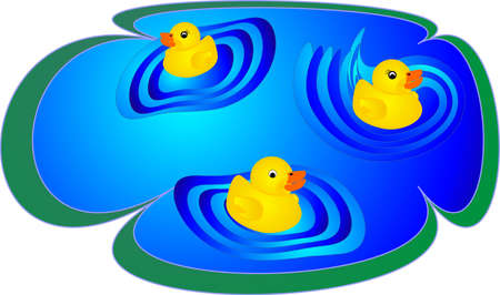 rubber ducky: illustration of three rubber duckies swimming in pond and having fun