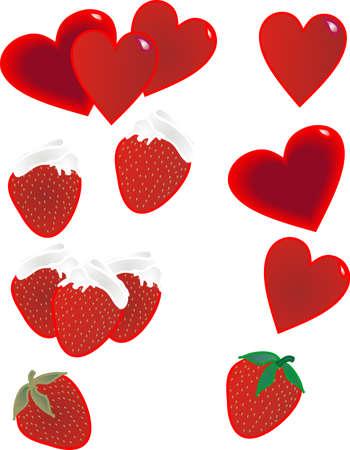 aardbeien met slag top en harten illustratie