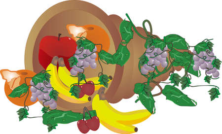 bountiful bouquet of fresh fruit in a horn of plenty Vector