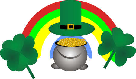Iron kettle filled wth gold coins,lucky clover and a leprachaun hat.. awaiting your presence here.. Vector