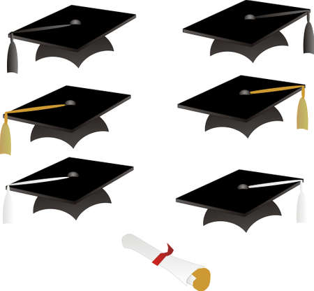 Black graduation cap with coloured tassels and diploma