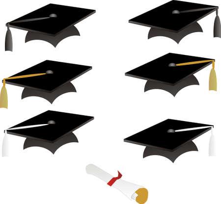 색깔의 술과 졸업장이있는 검은 졸업 모자