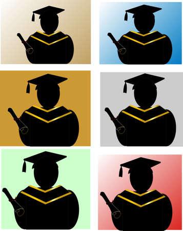 複数の色の背景を持つ卒業生のシルエット
