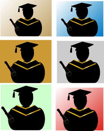 cap and gown: Graduates silhouette with multiple coloured backgrounds