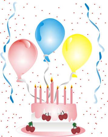 dates fruit: Celebraci�n con globos, serpentinas, pastel y confeti