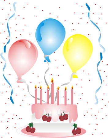 Celebrating with balloons, streamers , cake and confetti Vector