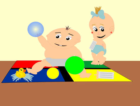 two babies having fun on a play mat Vector