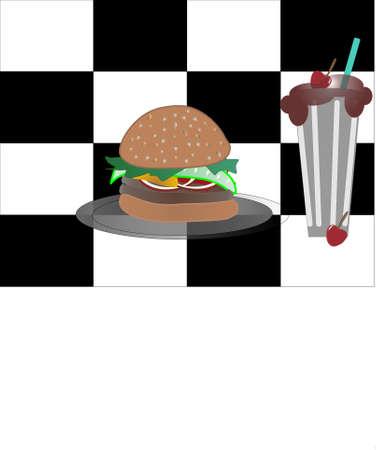 sesame: Hamburger, double pattie, on a sesame seed bun with a chocolate milkshake