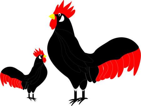 cockerel: illustrazione di un profilo fiero, bel gallo