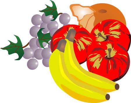 grouping of fresh fruits, that send your taste buds, soaring.. Ilustração