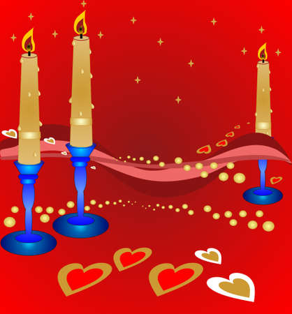 Candle Light Romance, with pearls and hearts, all year long Vector