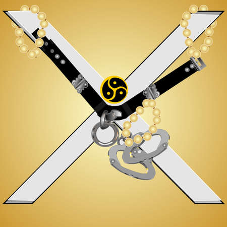 restraints: Submissive attire and St.Andrews cross for submission in the lifestyle
