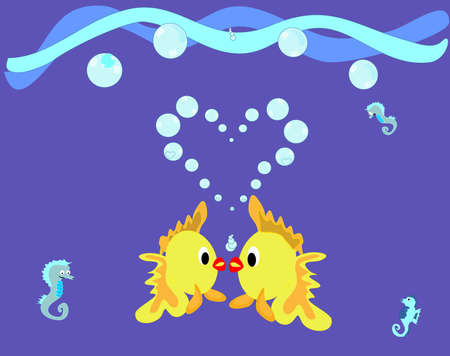 two fish kissing in the shape of a heart Vector