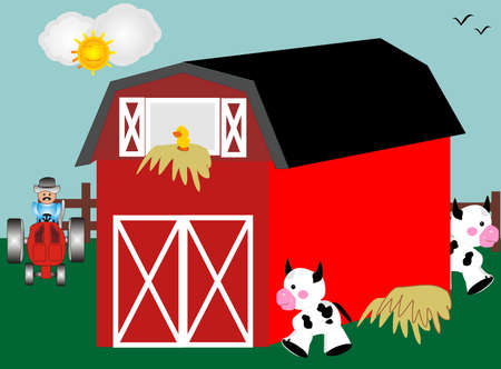 Barnyard with red barn, tractor and farm animals