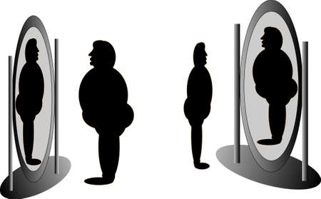 reflection in mirror: Mirrors that tell all, about what we look like or not... Illustration